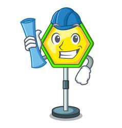 architect cartoon traffic sign on traffic road vector image