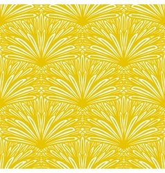 Art deco floral pattern in gold and white vector image