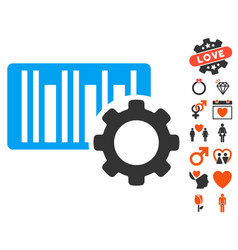 Bar code settings icon with love bonus vector