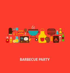 Barbecue party greeting card vector