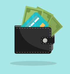 black wallet with credit card and cash vector image