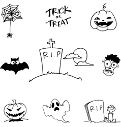 Black white halloween in doodle vector image