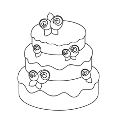 Cake with roses icon in outline style isolated on vector