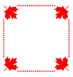 Canadian flag symbolism maple red leaf border vector