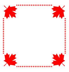 canadian flag symbolism maple red leaf border vector image