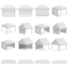 Canopy shed overhang mockup set realistic style vector