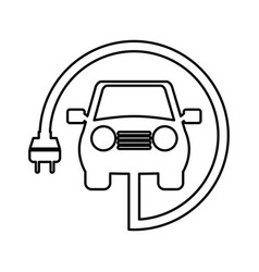 Car with energy plug vector