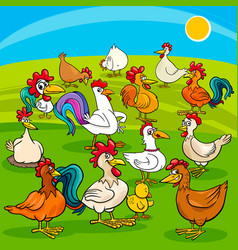 cartoon chickens farm animals group vector image
