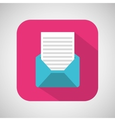 Cartoon envelope email mail with shadow and pink vector
