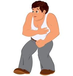 Cartoon man in white sleeveless top walking vector
