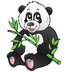 cartoon panda eating bamboo vector image