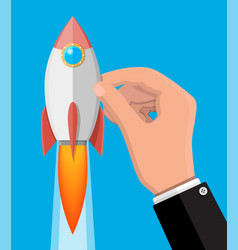 cartoon rocket in businessman hand vector image