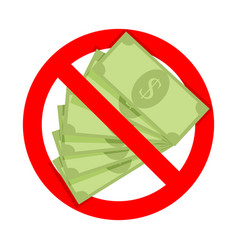 Cash is not accepted icon for door vector