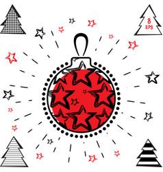 christmas ball and christmas tree icon vector image