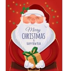 Christmas greeting card poster Santa Claus vector