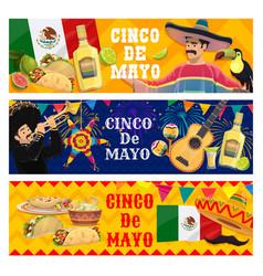 cinco de mayo holidays cartoon banners set vector image