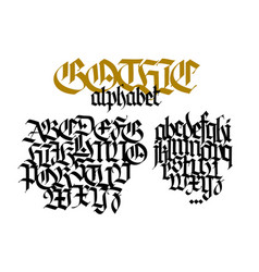 Complete gothic alphabet uppercase and lowercase vector