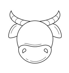 Cow head line icon vector