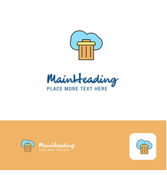 creative cloud trash logo design flat color logo vector image