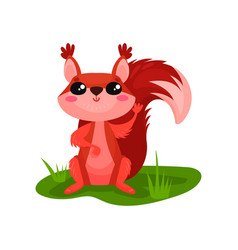Cute red squirrel sitting on grass and waving paw vector