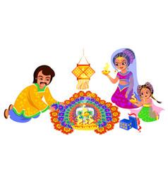 Diwali indian holiday and family creating rangoli vector