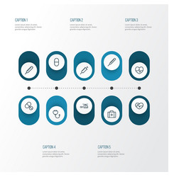 Drug outline icons set collection of injection vector