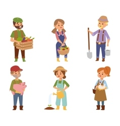 Farmers people characters vector image