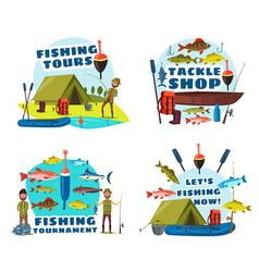 fisherman fishing with rod boat and net vector image