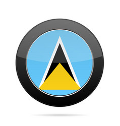 flag of saint lucia shiny black round button vector image