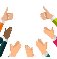 Flat design clapping hand applause banners vector