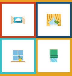 flat icon frame set of glass frame flowerpot vector image