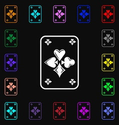 game cards icon sign Lots of colorful symbols for vector image