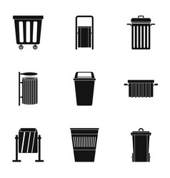Garbage container icon set simple style vector