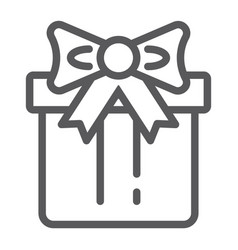 gift box line icon package and surprise present vector image