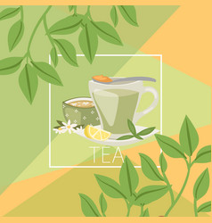 Green chinese tea leaves background with lemon vector