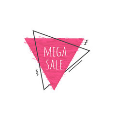 grunge geometric badge with mega sale sign vector image