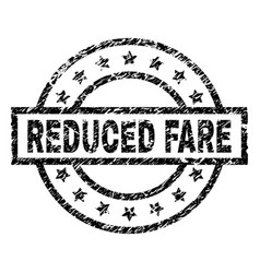 Grunge textured reduced fare stamp seal vector