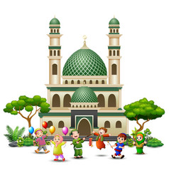 Happy islamic kids cartoon playing in front of a m vector