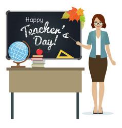 Happy teacher day greeting vector