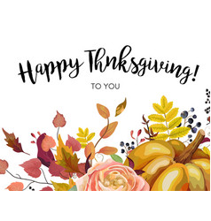 Happy thanksgiving floral greeting postcard card vector