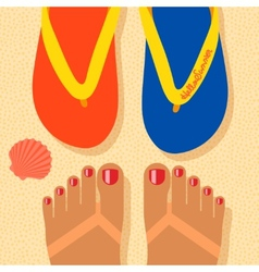 Hello summer - concept background self shoot feet vector image