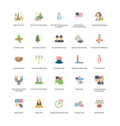 holiday flat icons vector image