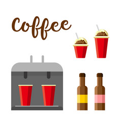 hot coffee set colorful constructor vector image