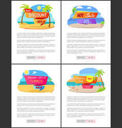 hot summer sale with discount up to 35 promo set vector image