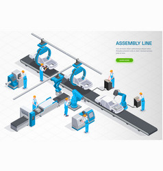 Industrial manufacturing isometric composition vector