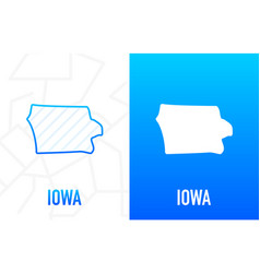 Iowa - us state contour line in white and blue vector