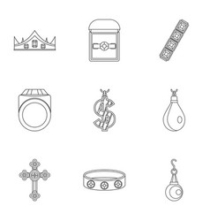 Jewelry collection icon set outline style vector