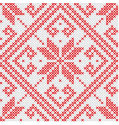 Knitted red seamless pattern vector