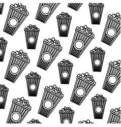 Line delicious snack popcorn food background vector