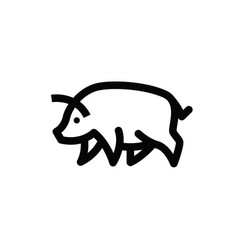 Linear black drawing of swine vector